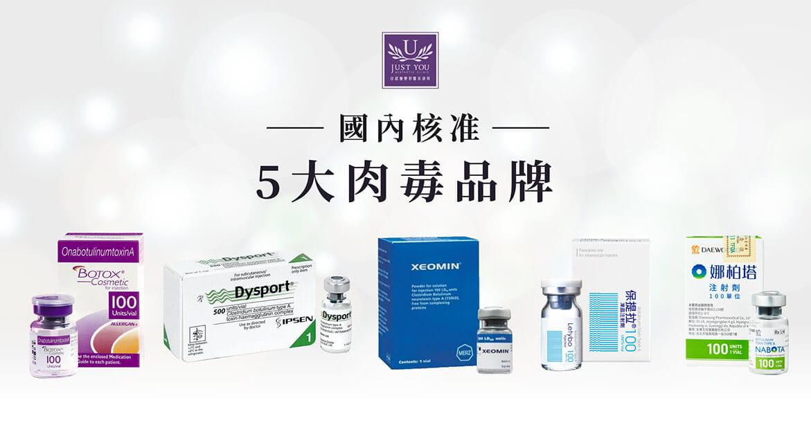 台灣衛福部核准使用的肉毒桿菌素