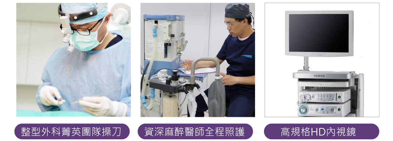 V整型外科菁英團隊操刀  v資深麻醉醫師全程照護  v高規格HD內視鏡