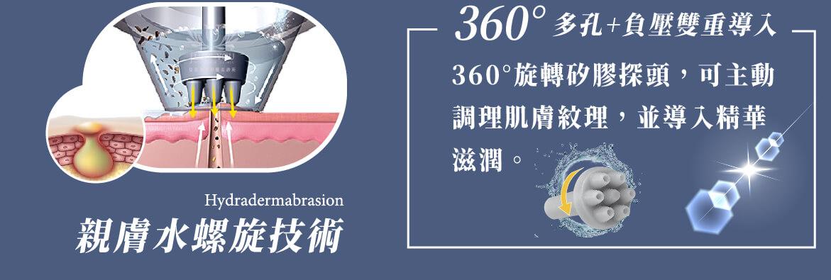 黑鑽水飛梭使用親膚矽膠探頭,360度帶走髒汙及粉刺