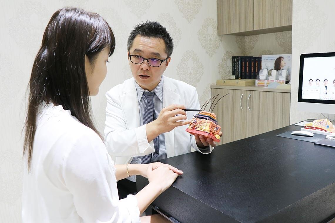 黃仁吳醫師與患者解釋第三代海芙音波拉提作用深度