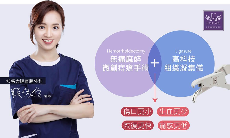 無痛麻醉微創痔瘡手術+高科技組織凝集儀(Ligasure)